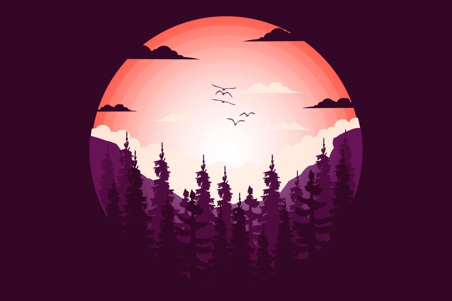 T-shirt pine tree mountain nature beautiful flat style illustration vector