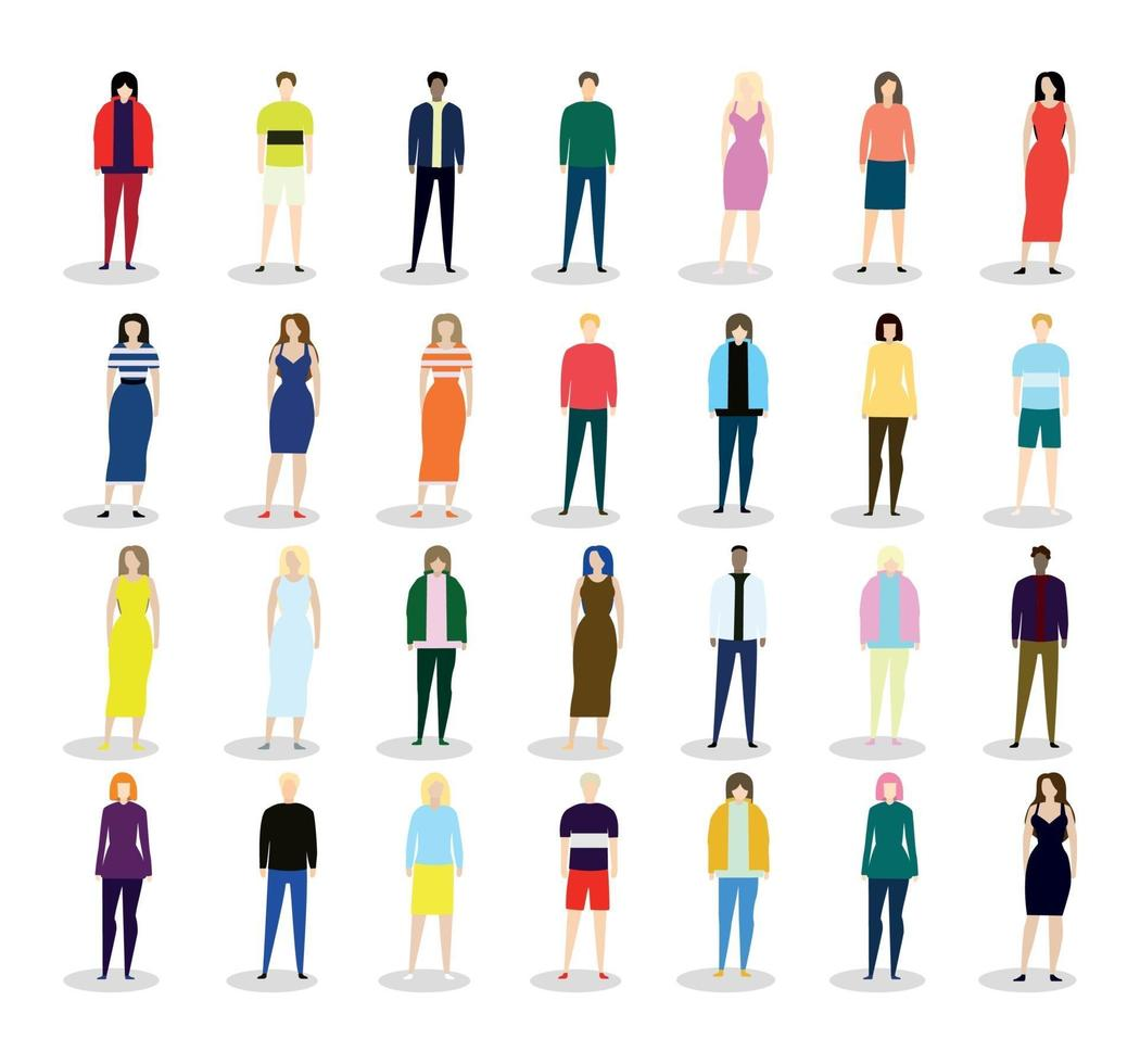 Small miniatures of different people on a white background - Vector