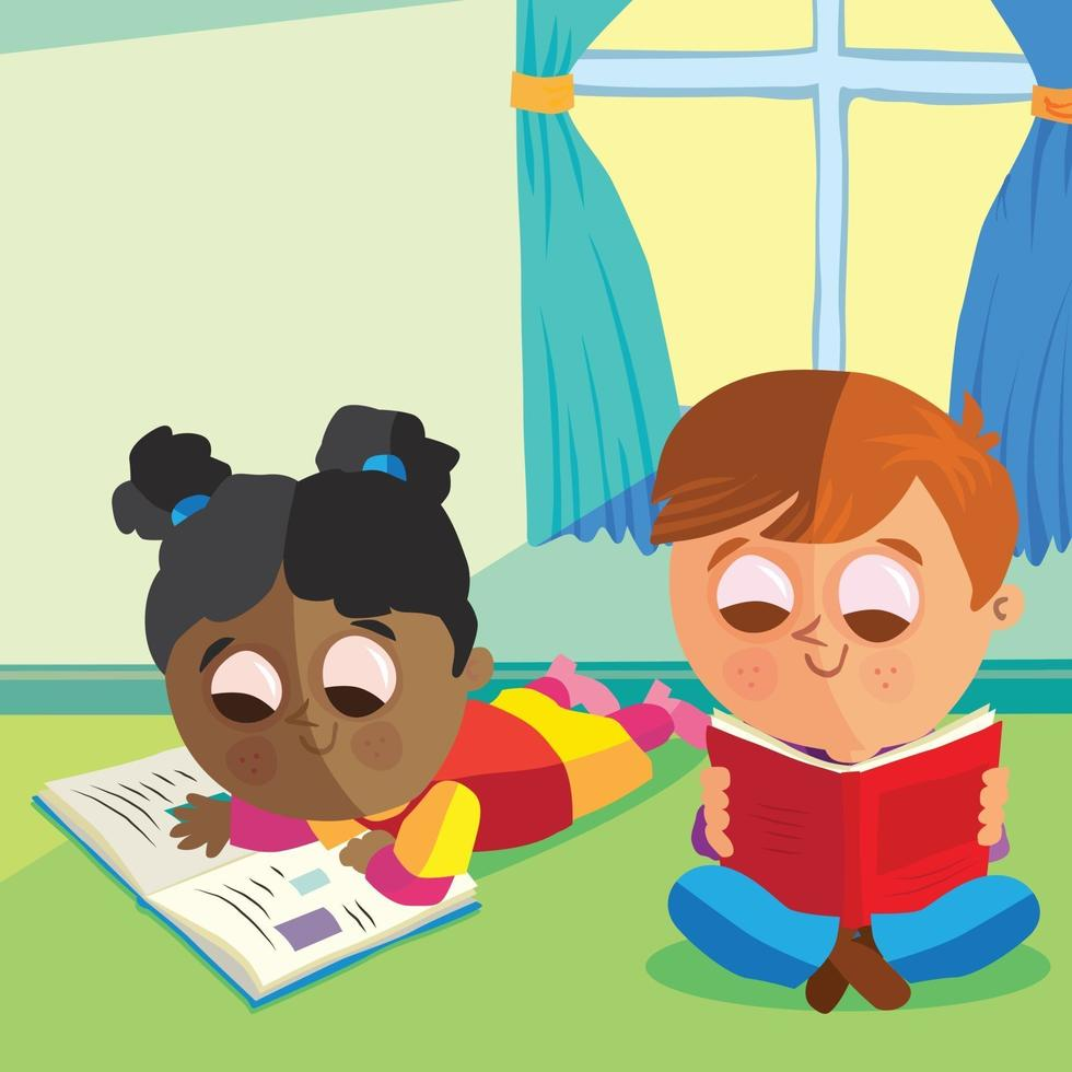 Two children reading at the window vector