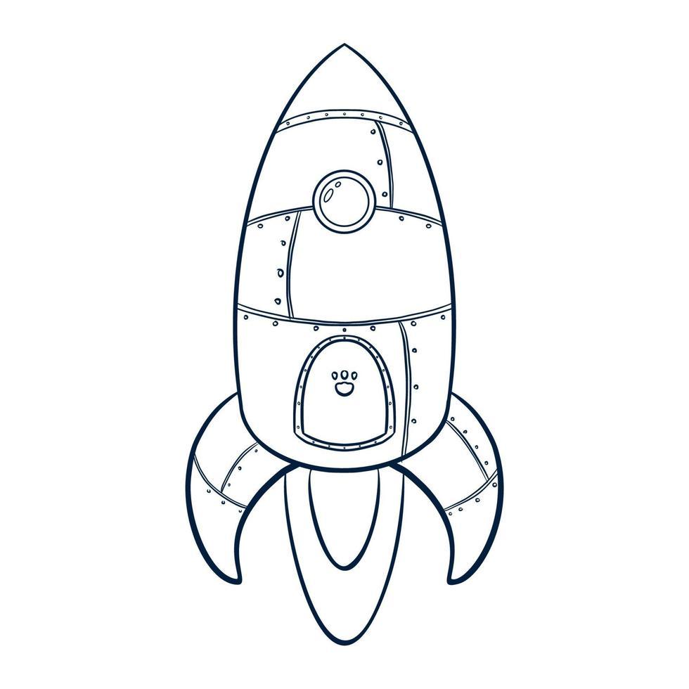 Line Art Rocket Illustration vector