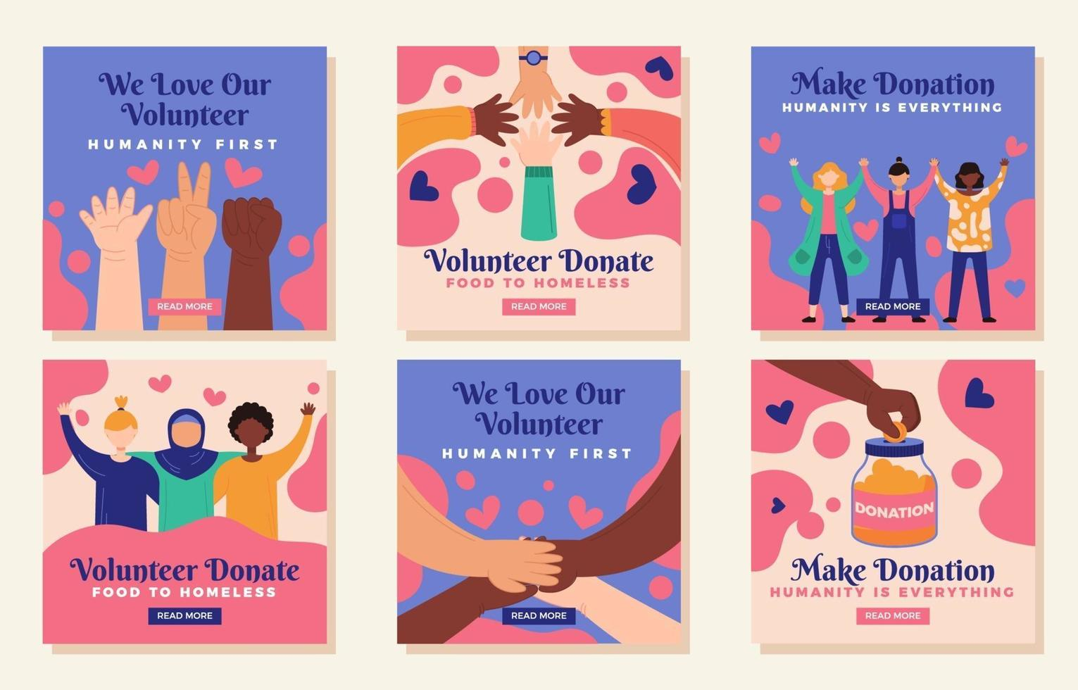 Solving Problems Together by Volunteering And Donating vector