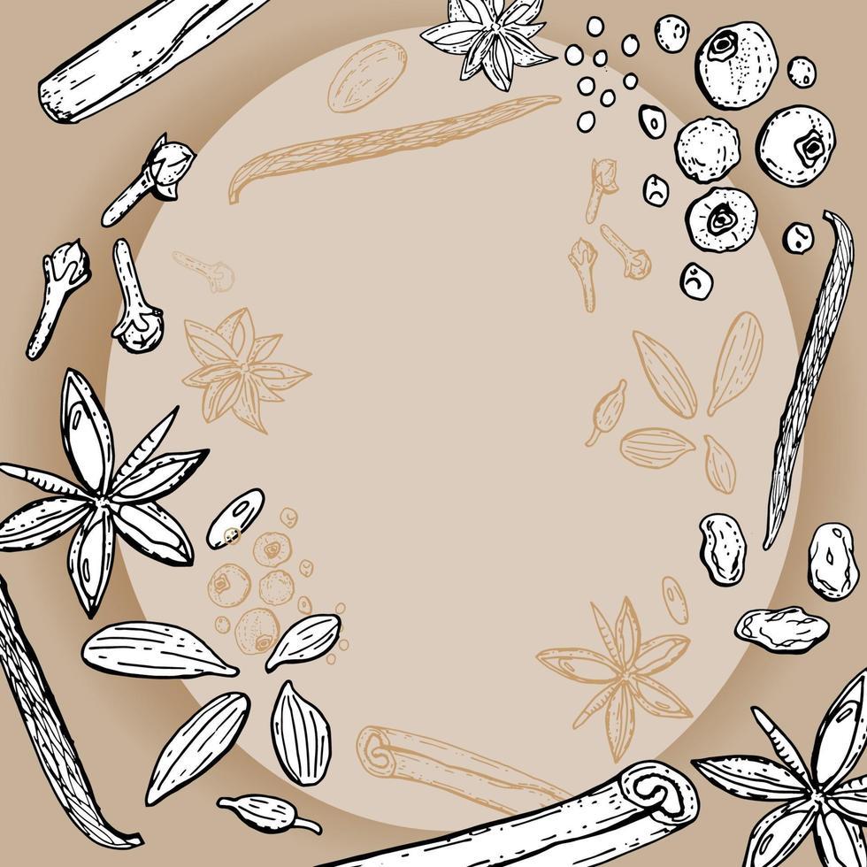 marco con ingredientes para hacer vino caliente. jengibre, canela, vector