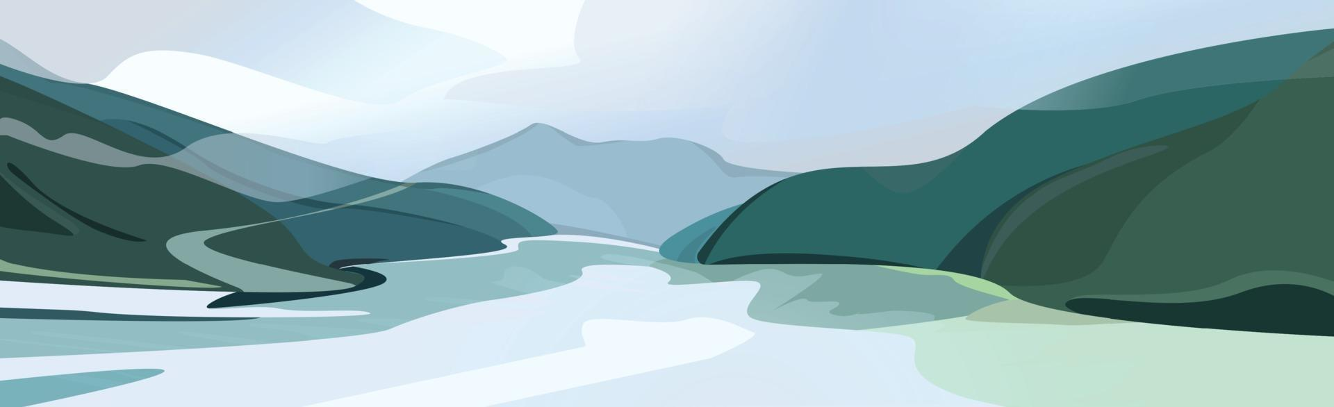 Mountain landscape, rocks and a river flowing into the distance vector