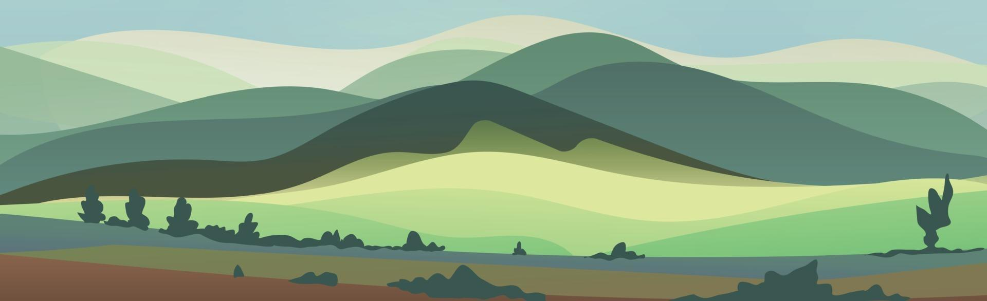 Panoramic mountain bright sunny landscape with dense forest - Vector