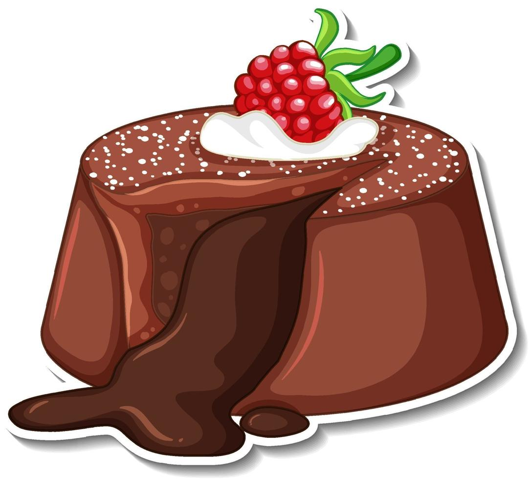 Chocolate lava cake with raspberry sticker on white background vector