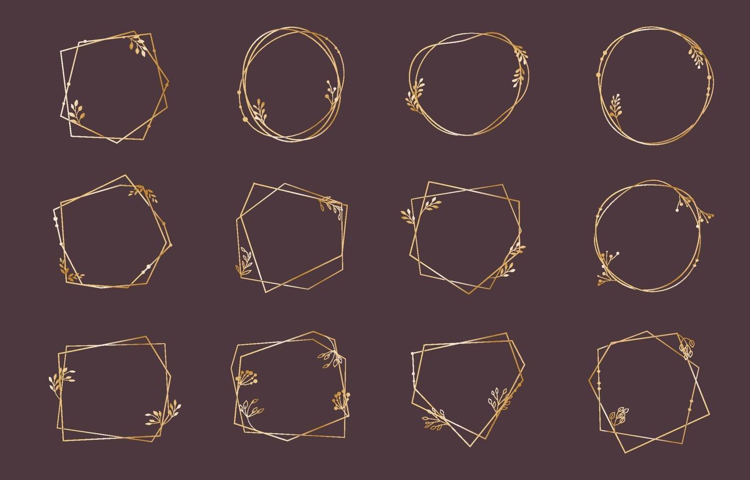 Set of Gold Frame Collection for Wedding Card vector