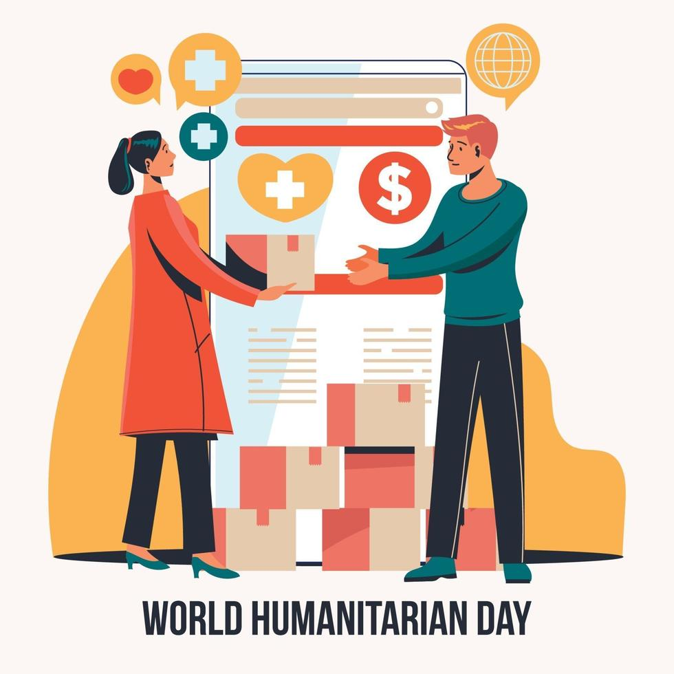 World Humanitarian Day with Activism to Raise Donations vector