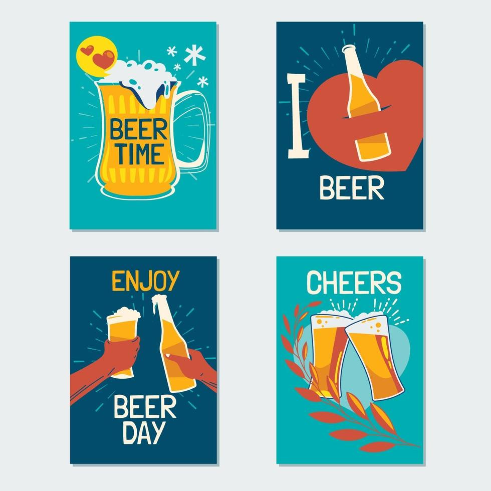 International Beer Day Card Collection vector