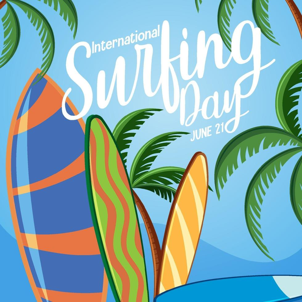 International Surfing Day banner with many surfboards on the beach vector