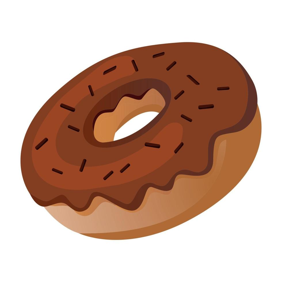 Realistic round donut on white background - Vector