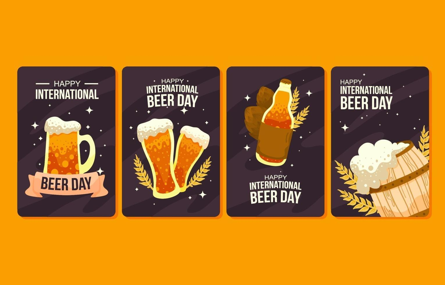 Set of Cards for International Beer Day vector