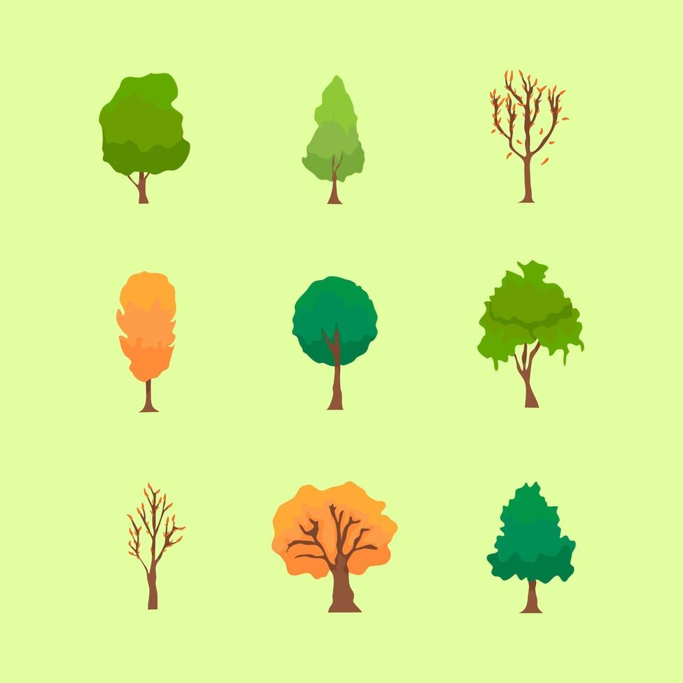 Icon Pack Tree in Autumn Fall vector