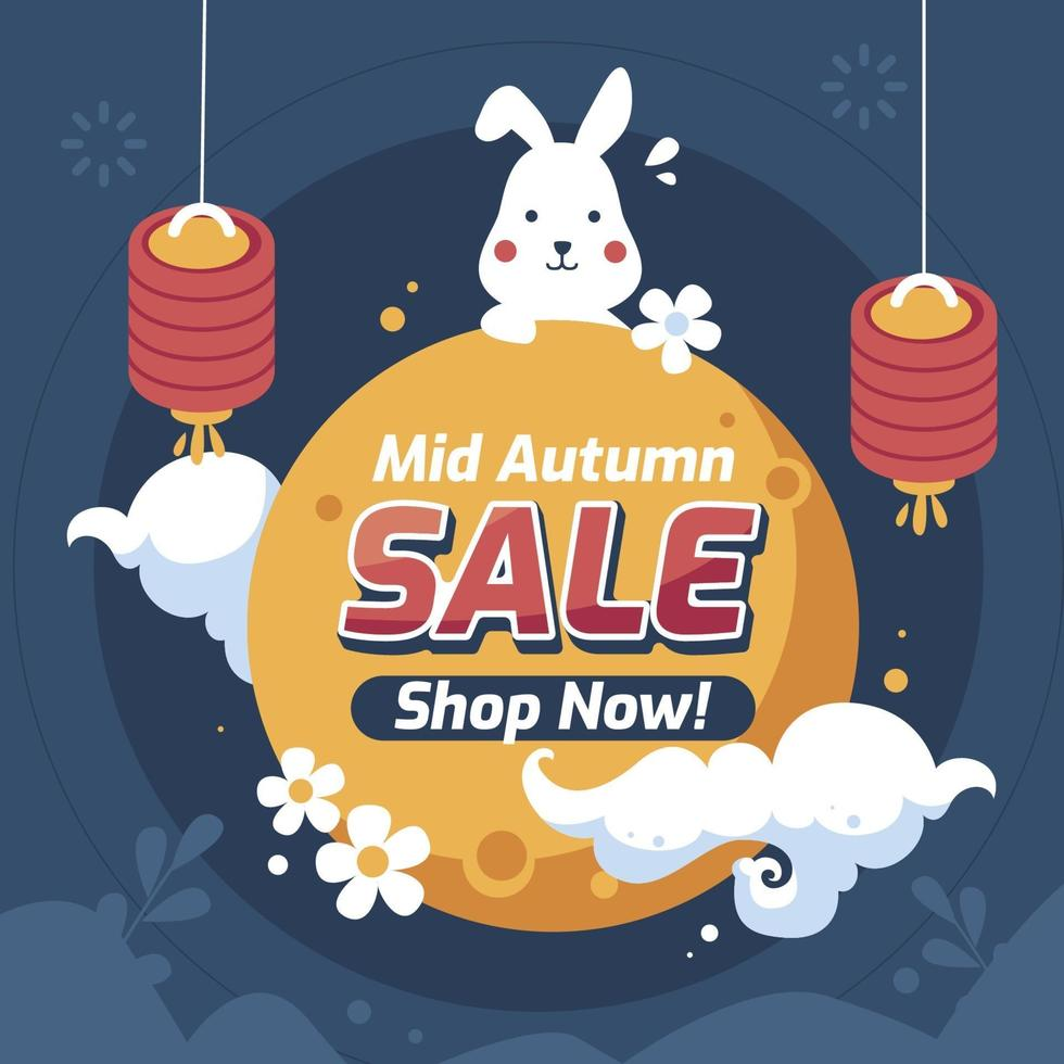 Mid Autumn Sale Poster With Cute Bunny vector