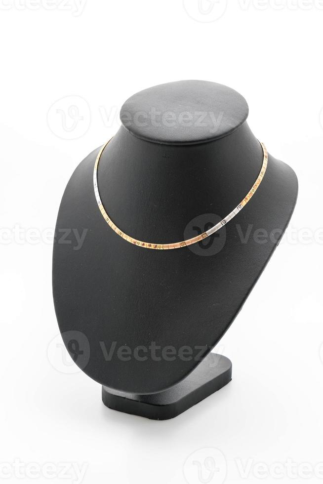 Collar hermoso y de lujo con cuello de soporte de joyería en blanco foto