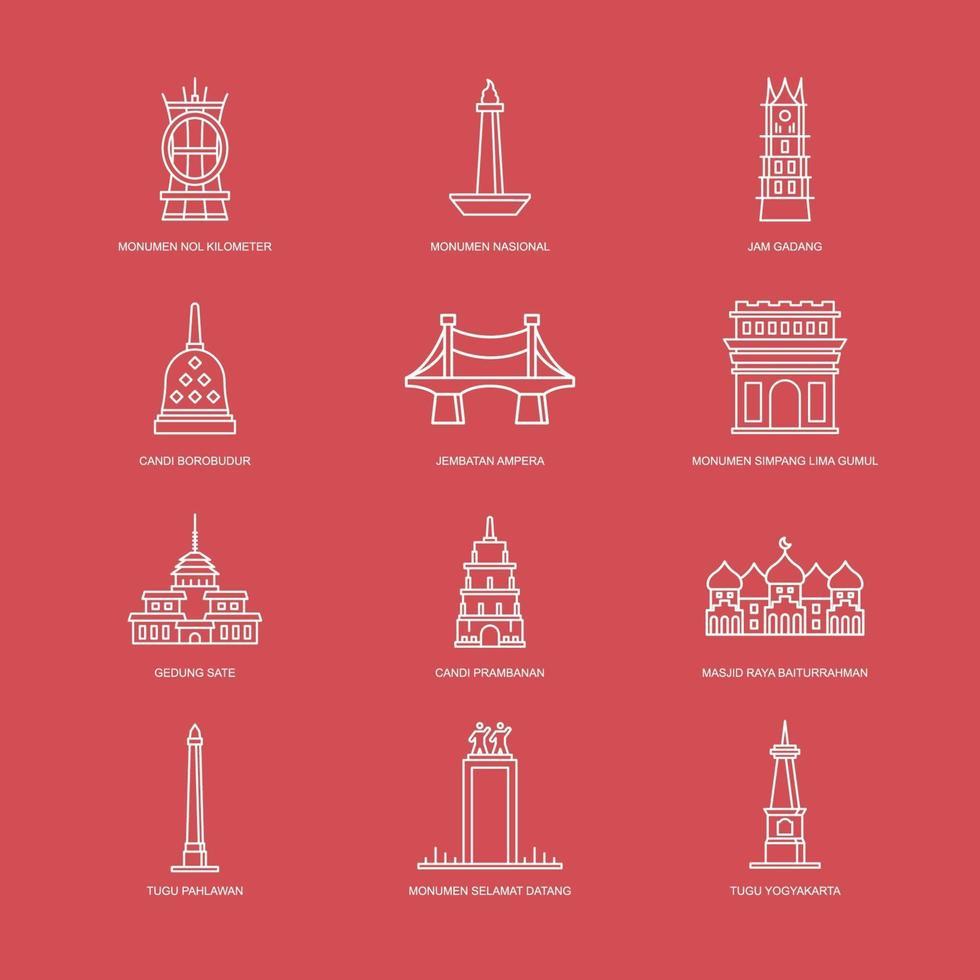 Icon Pack Indonesia Landmark vector