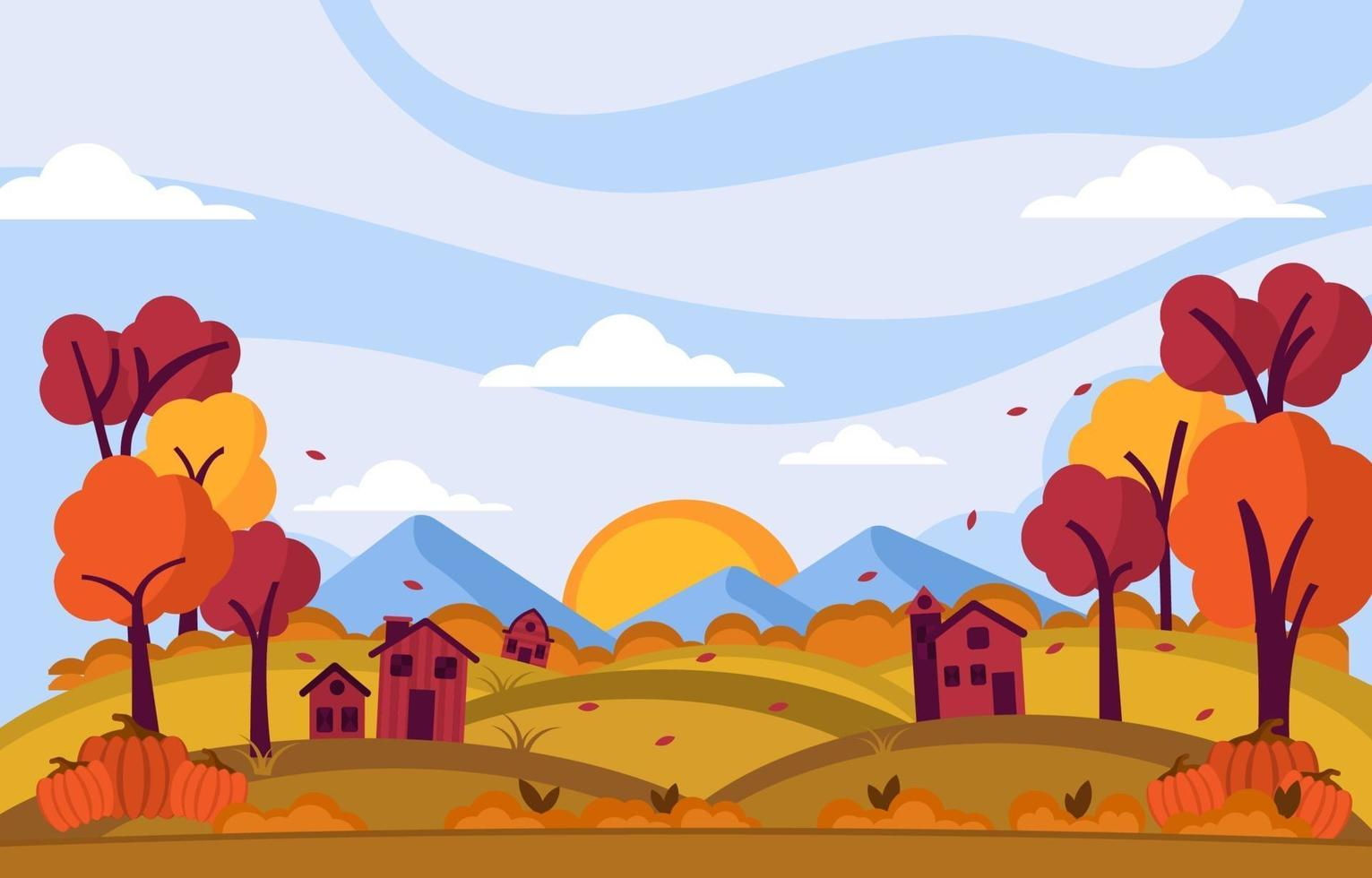 Autumn Day Background at Small Village Atop of the Hills vector