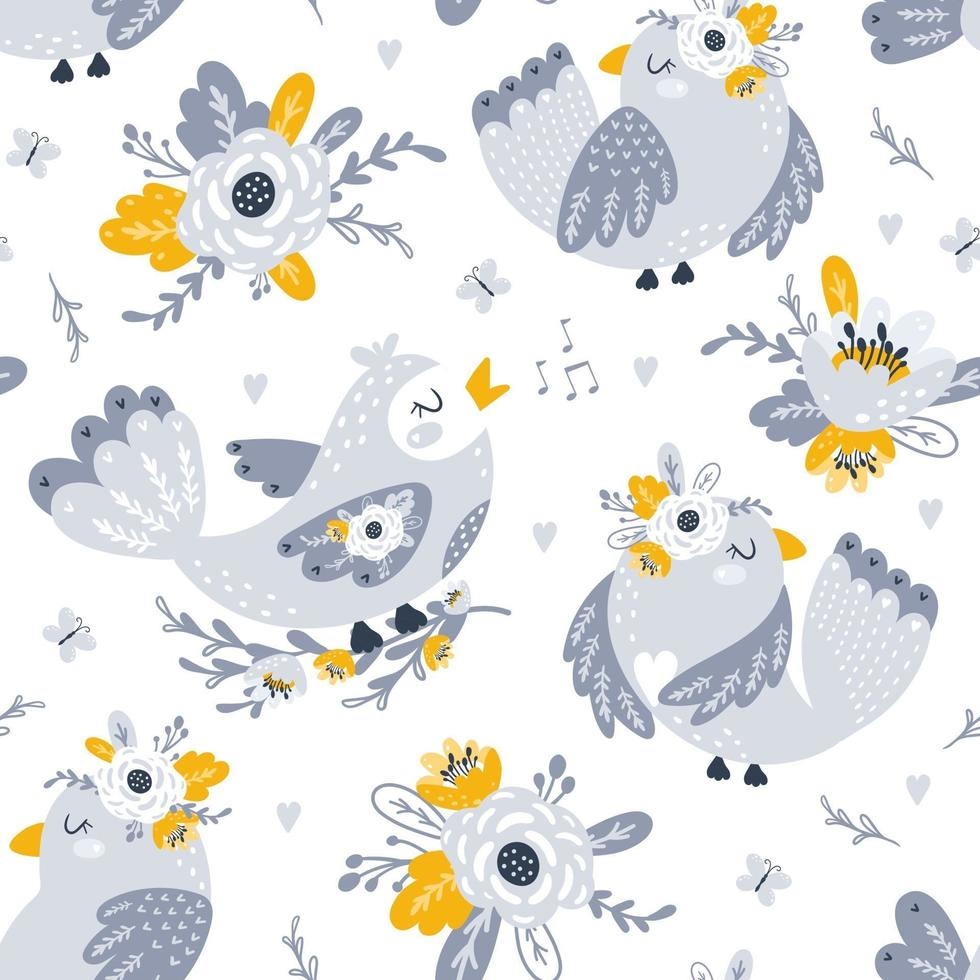 Seamless pattern with flowers and birds. Vecto vector