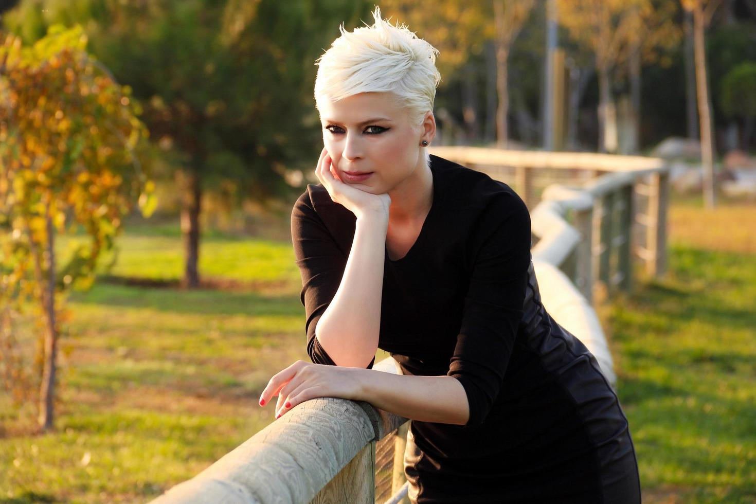 Blond Woman in the Park in Green Nature photo