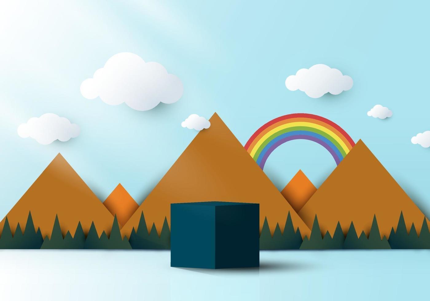 3D realistic blue cube shaped pedestal podium with landscape nature vector