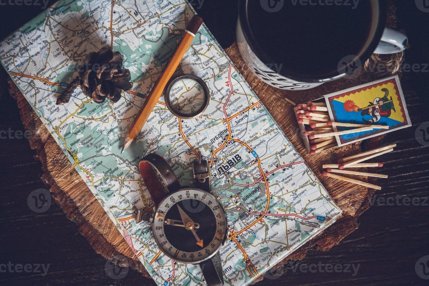 Travel Concept, Still Life Objects Key, Paper Roll photo