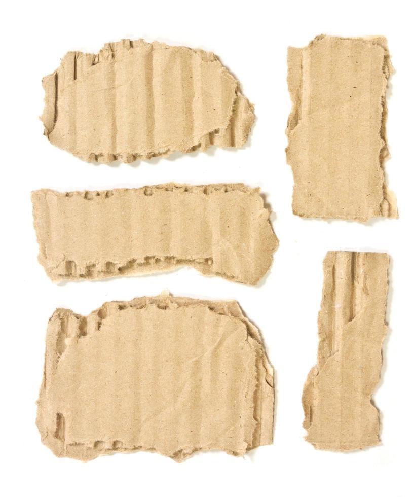 Cartón ondulado de papel rasgado aislado sobre fondo blanco. foto