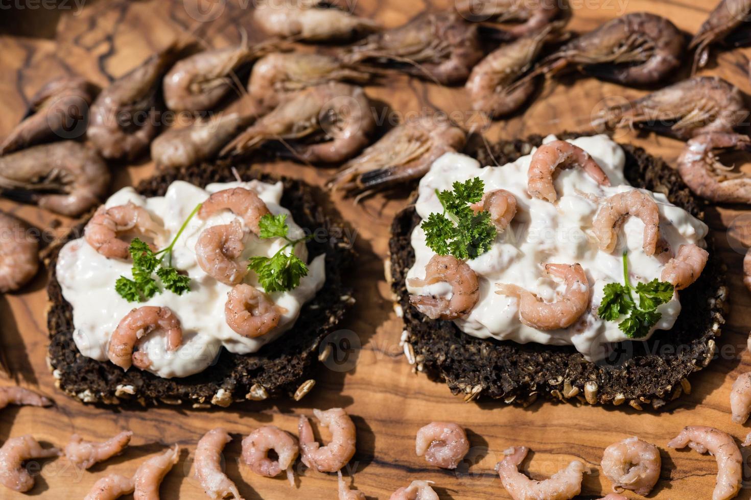 Salad with fresh North Sea crabs photo