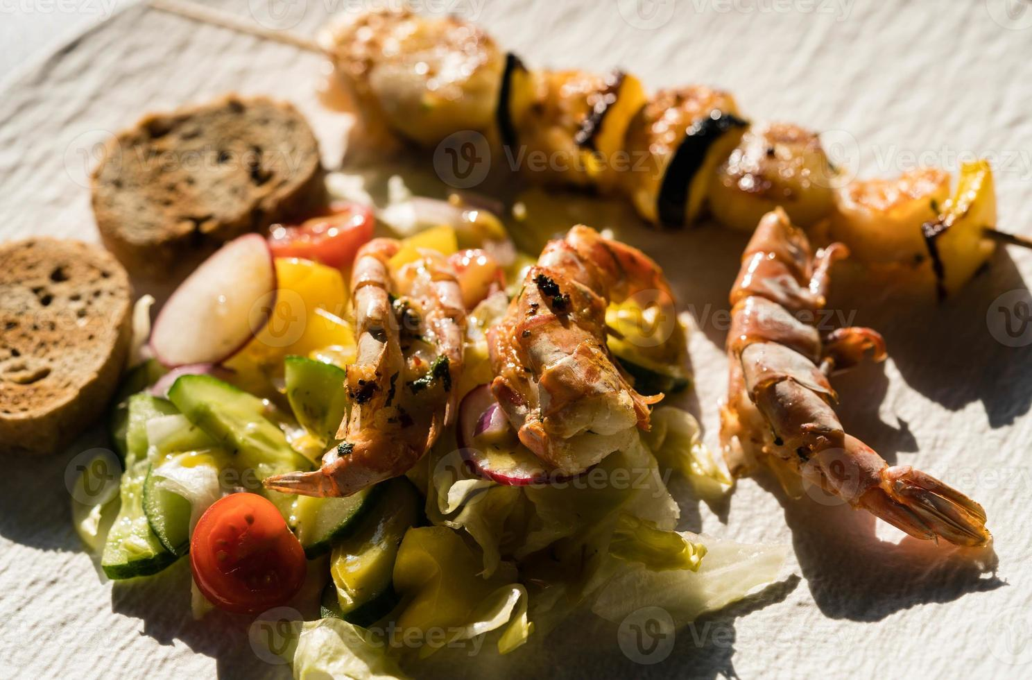 Mediterranean marinated seafood for grilling photo