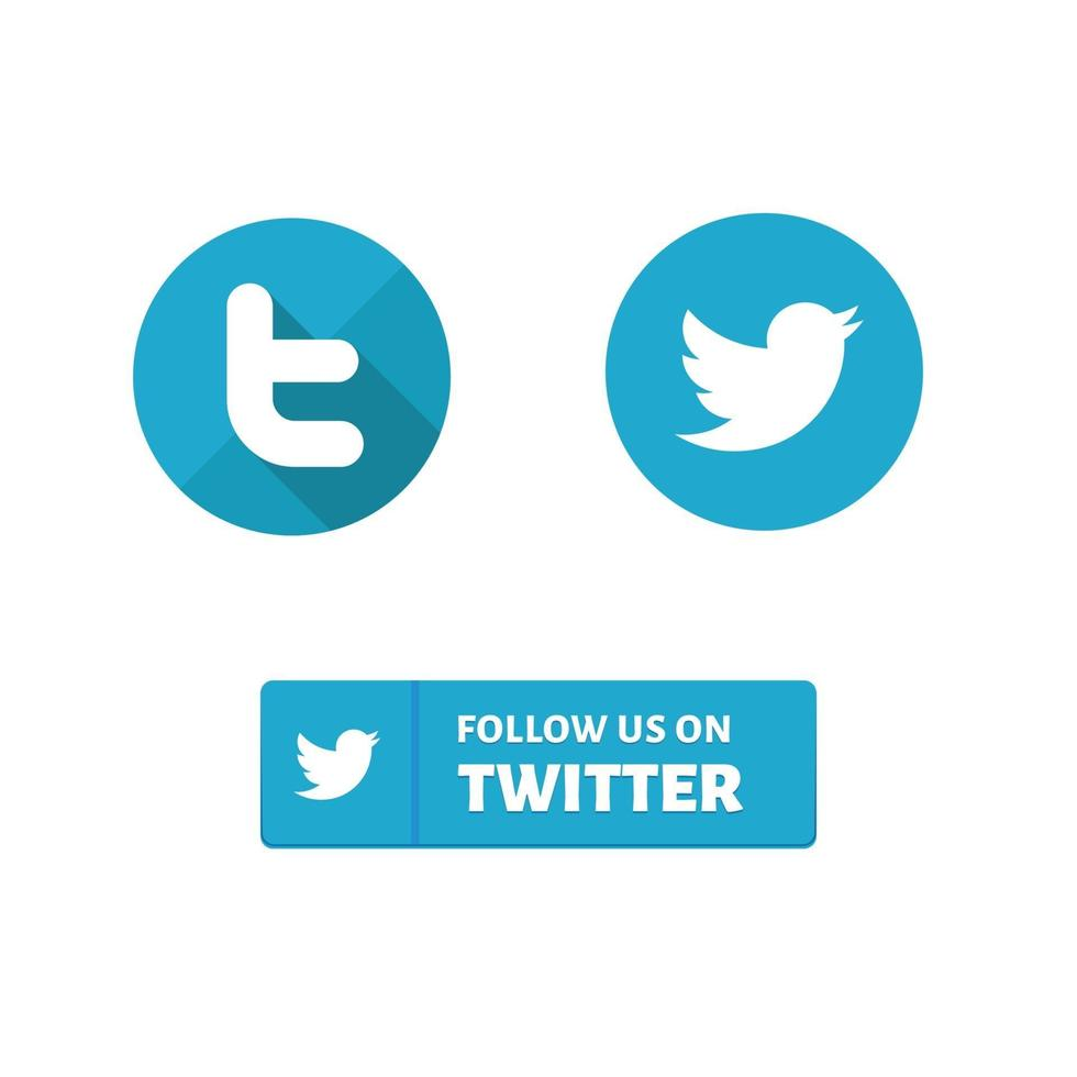 flat social media icon twitter icon design vector