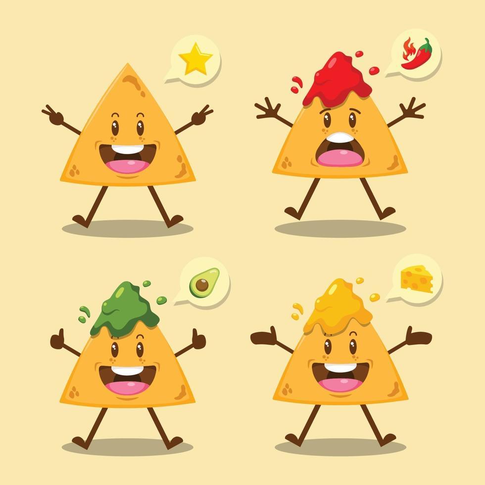 Cute Cartoon Nachos With Sauce Set vector