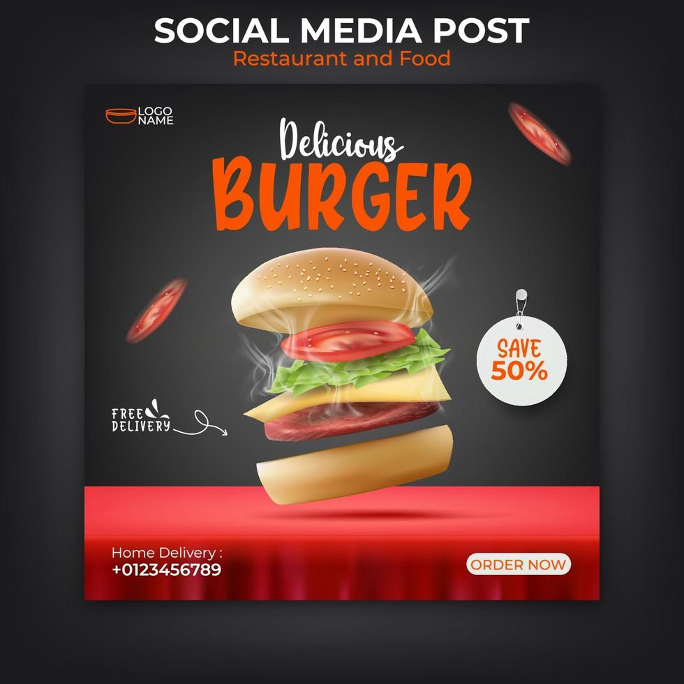 Burger or food banner template for social media promotion. vector