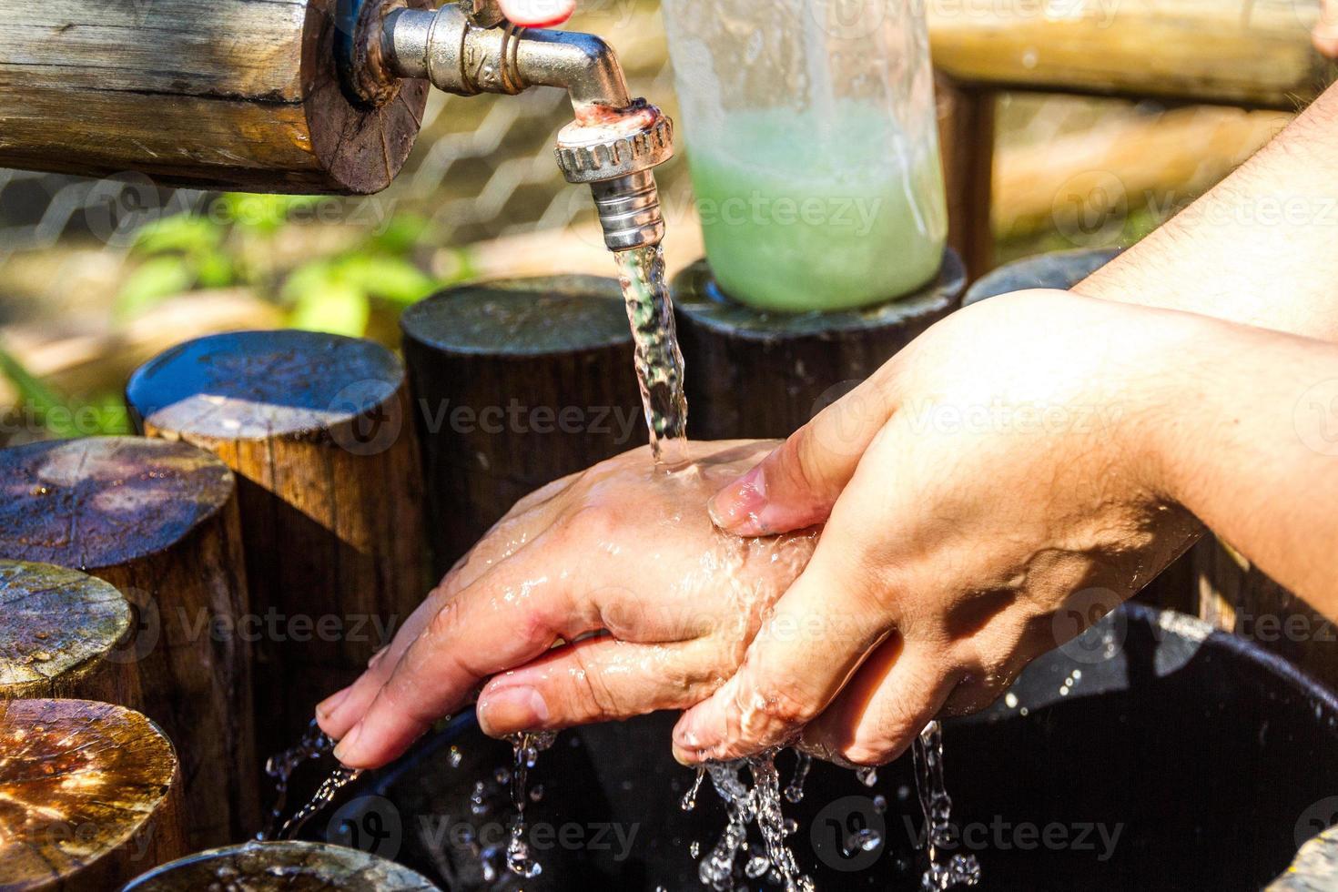 Woman washing her hands outdoors in Rio de Janeiro. photo