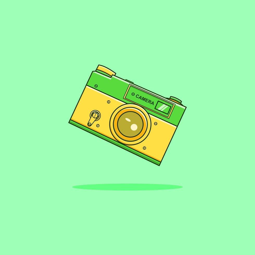 Retro camera cartoon icon illustration vector