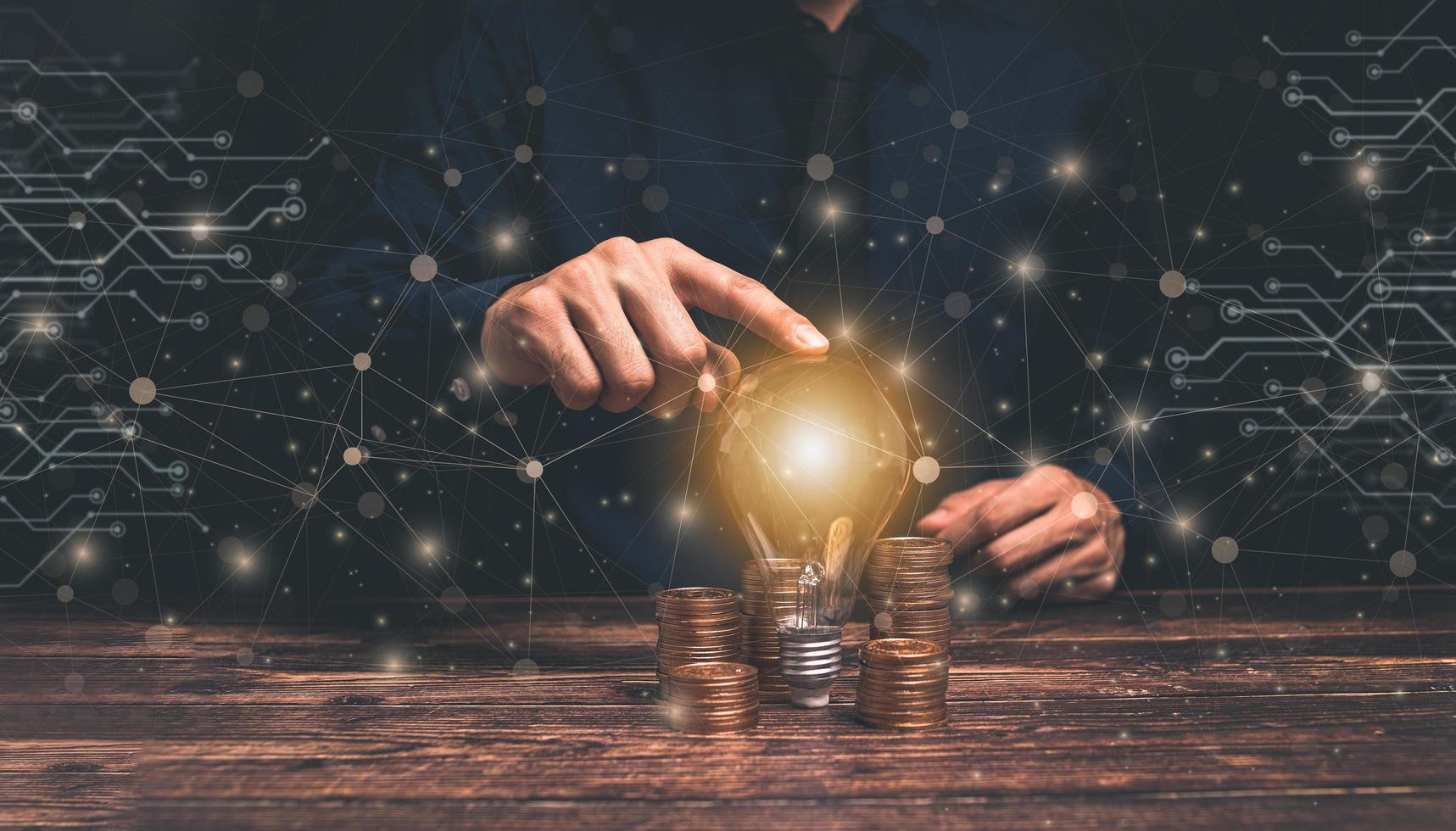 concept, idea, light bulb business growth stacked coins illustration photo
