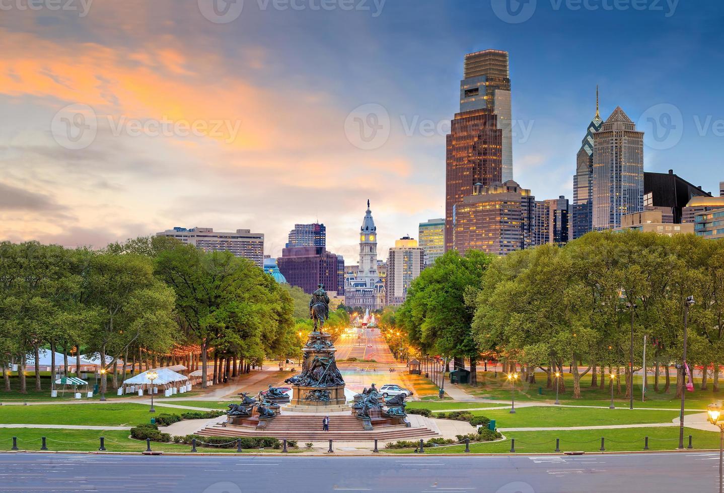 Beautiful philadelphia downtown skyline at sunset photo