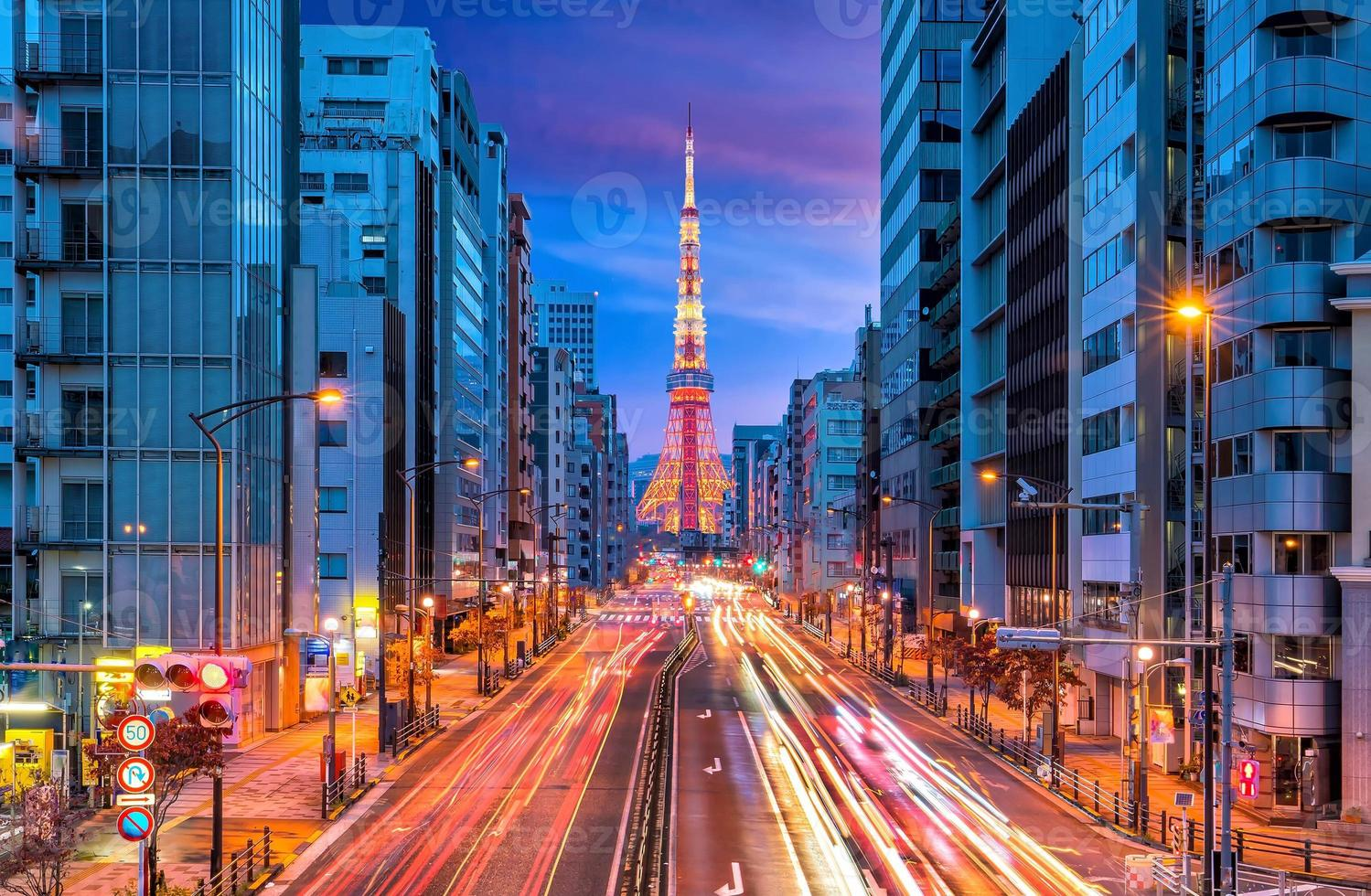 Tokyo city street view with Tokyo Tower photo