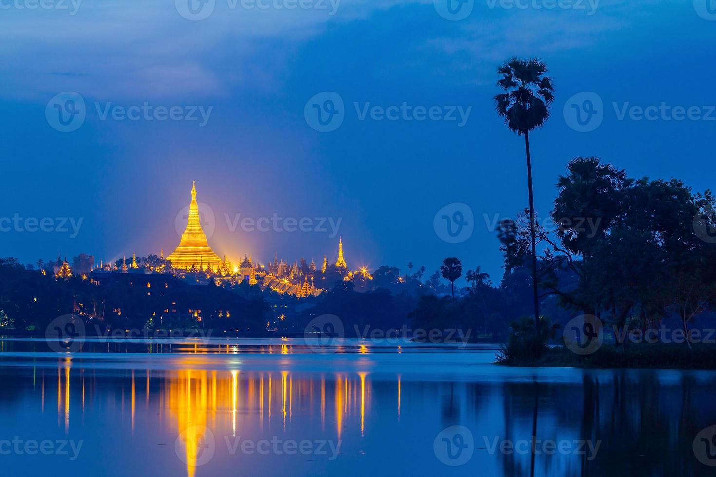 Shwedagon pagoda at sunset, Great Dagon Pagoda in Yangon Myanmar photo