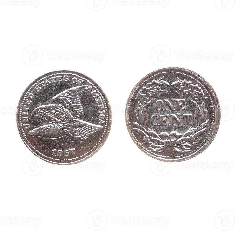 moneda de un centavo aislado foto