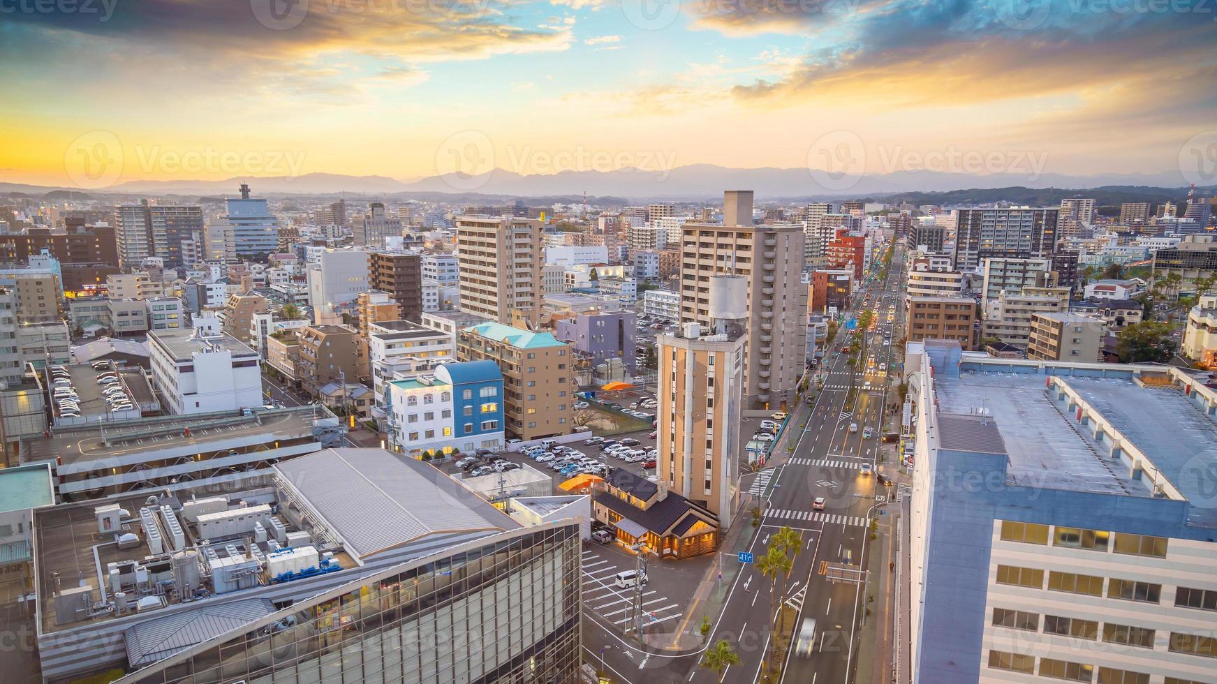 Miyazaki city downtown skyline cityscape  in Kyushu, Japan photo