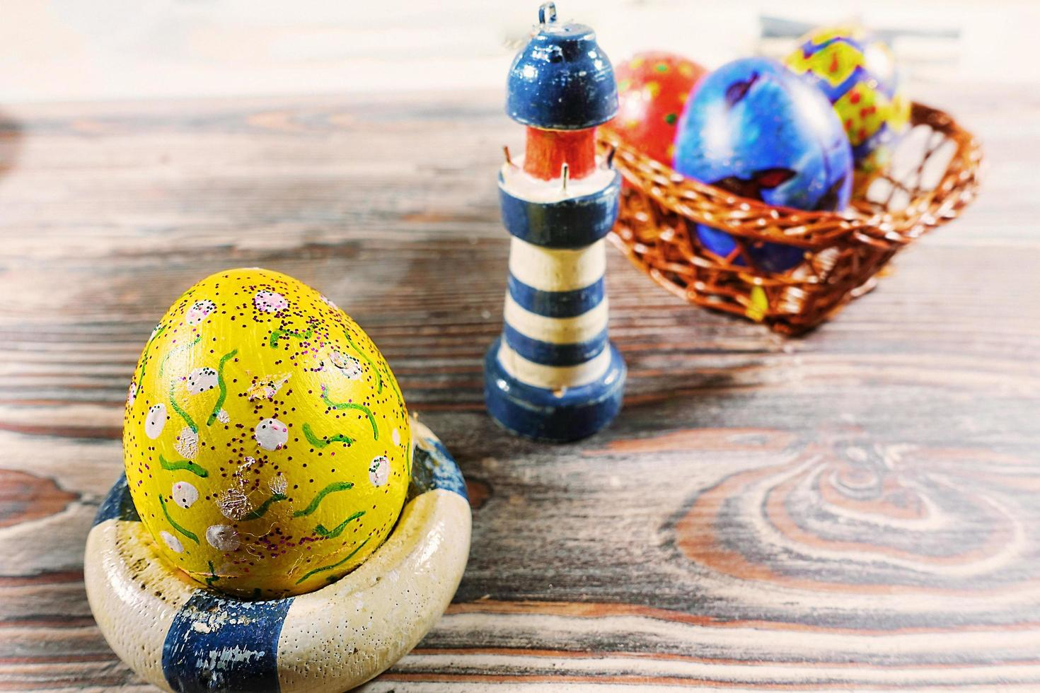 Paschal Easter Eggs and Lighthouse Toy Holiday Celebration photo