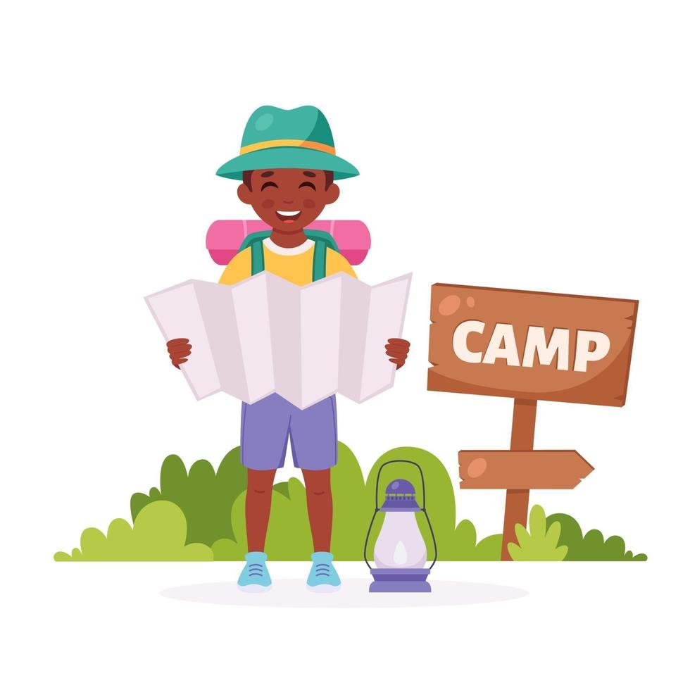 Black boy scout with map, backpack. Camping, summer kids camp. vector