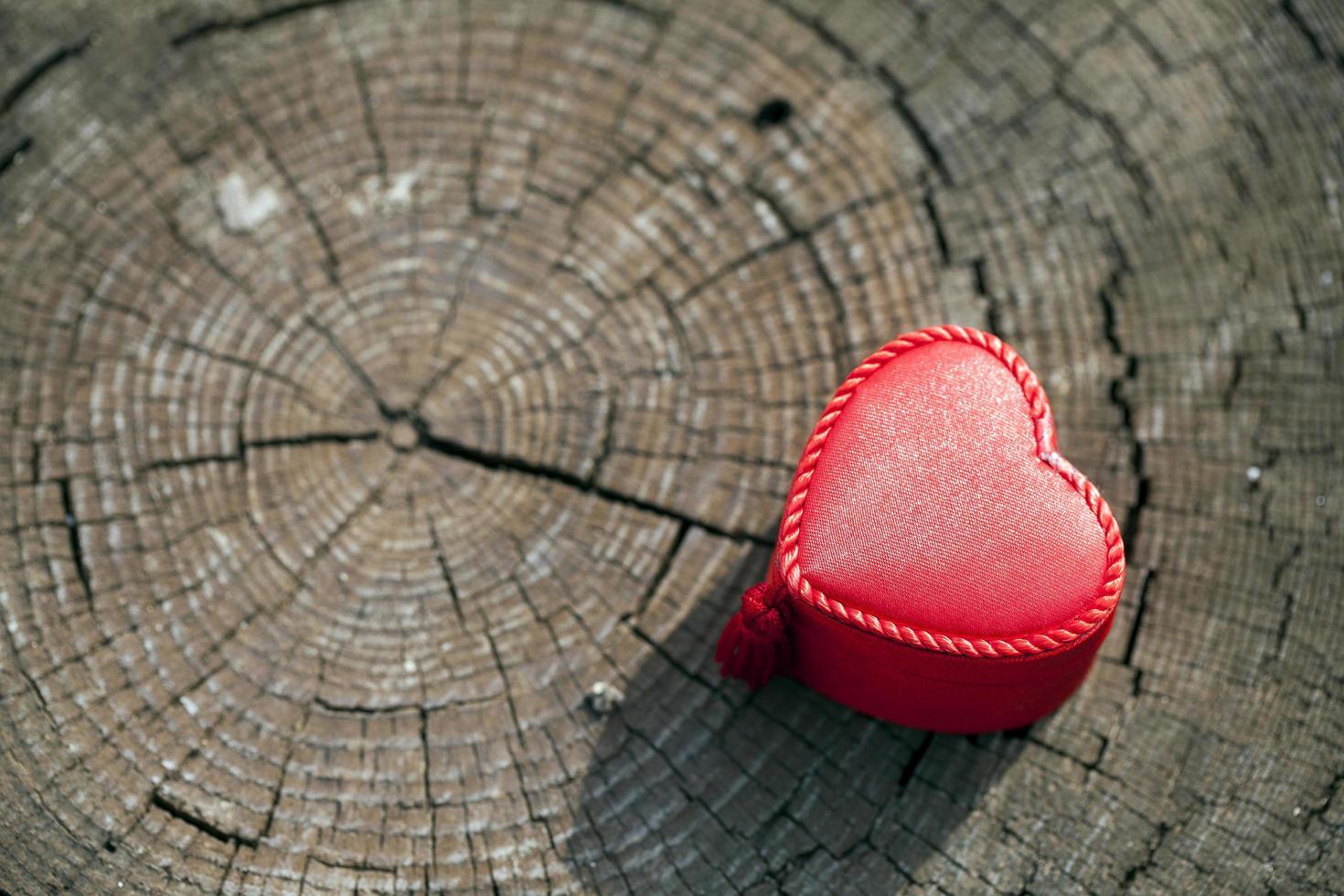 Caja de regalo en forma de corazón sobre tronco de madera foto