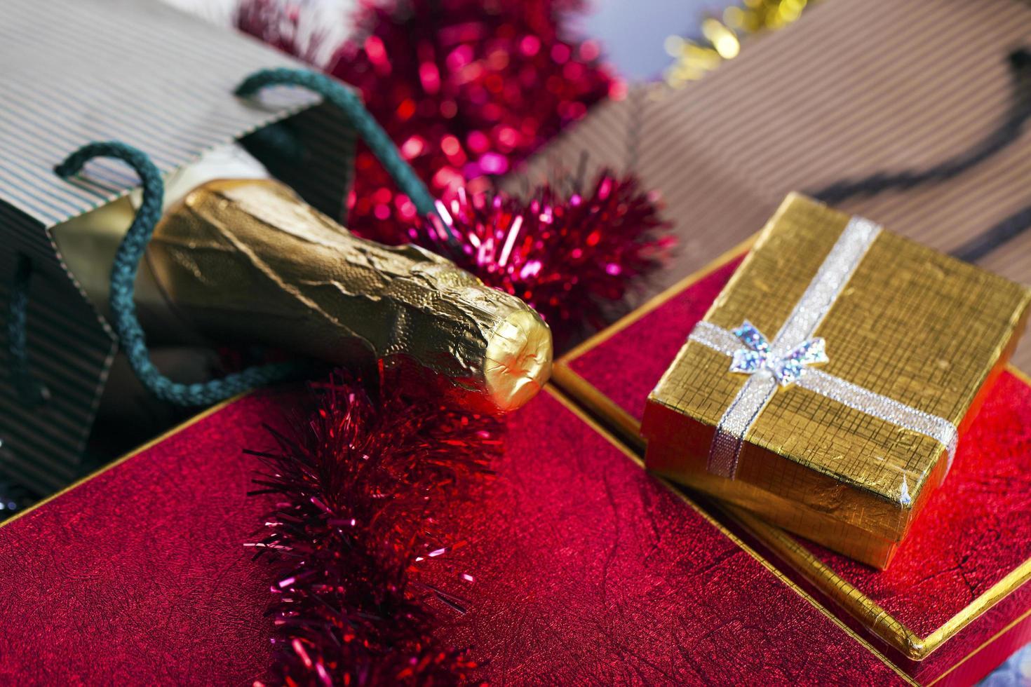Christmas Birthday Valentine's Day Champagne Gift Box Concept photo