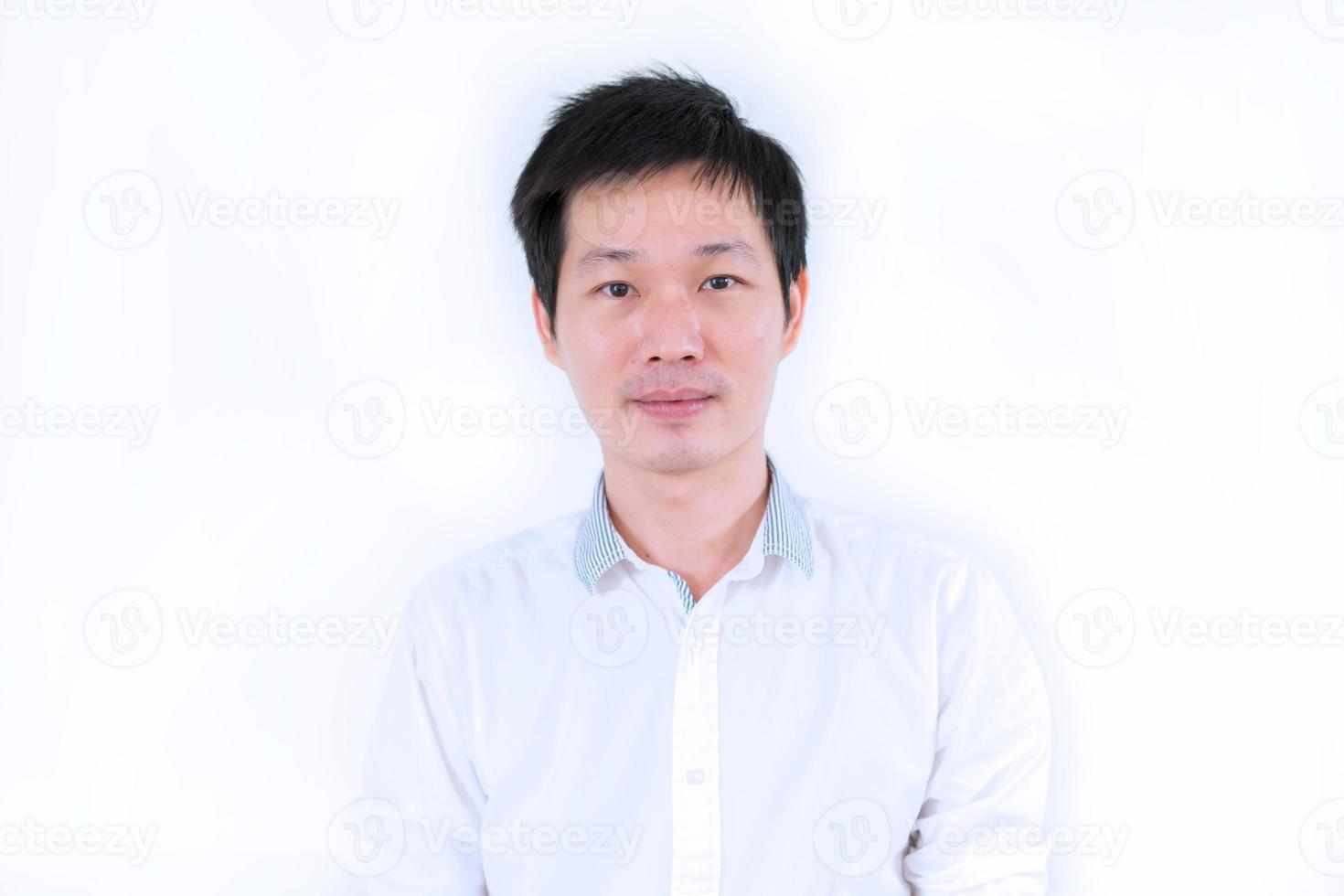 Portrait Asian man on white background photo