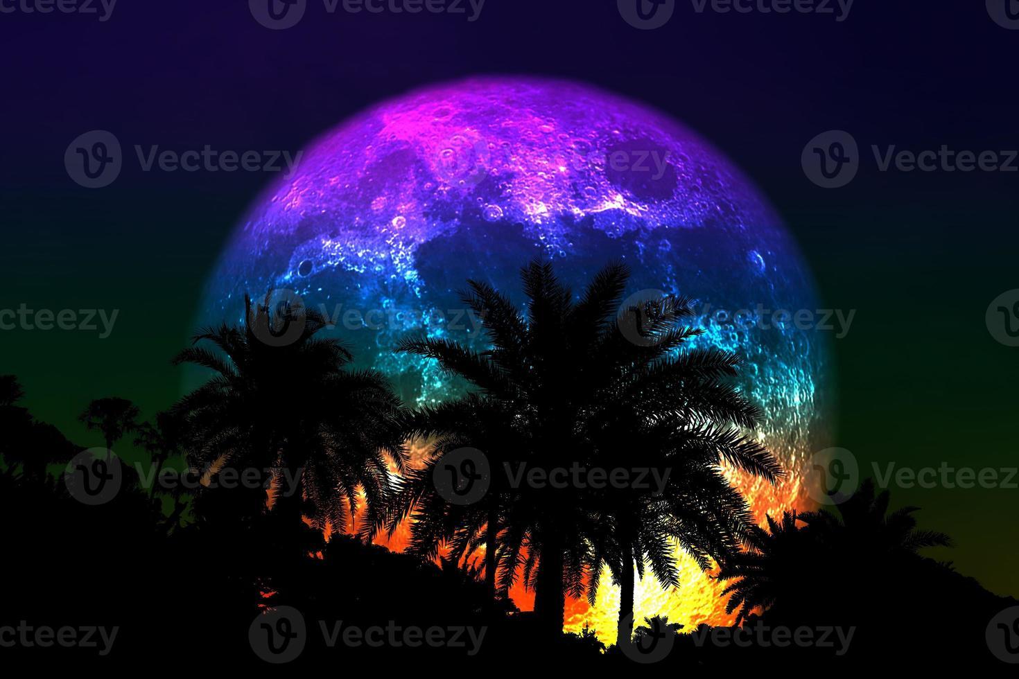 Super flor colorida luna con silueta de palmera en el cielo nocturno foto