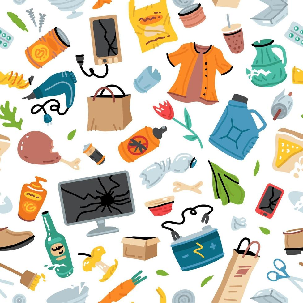 Recycling garbage seamless pattern with trash items vector