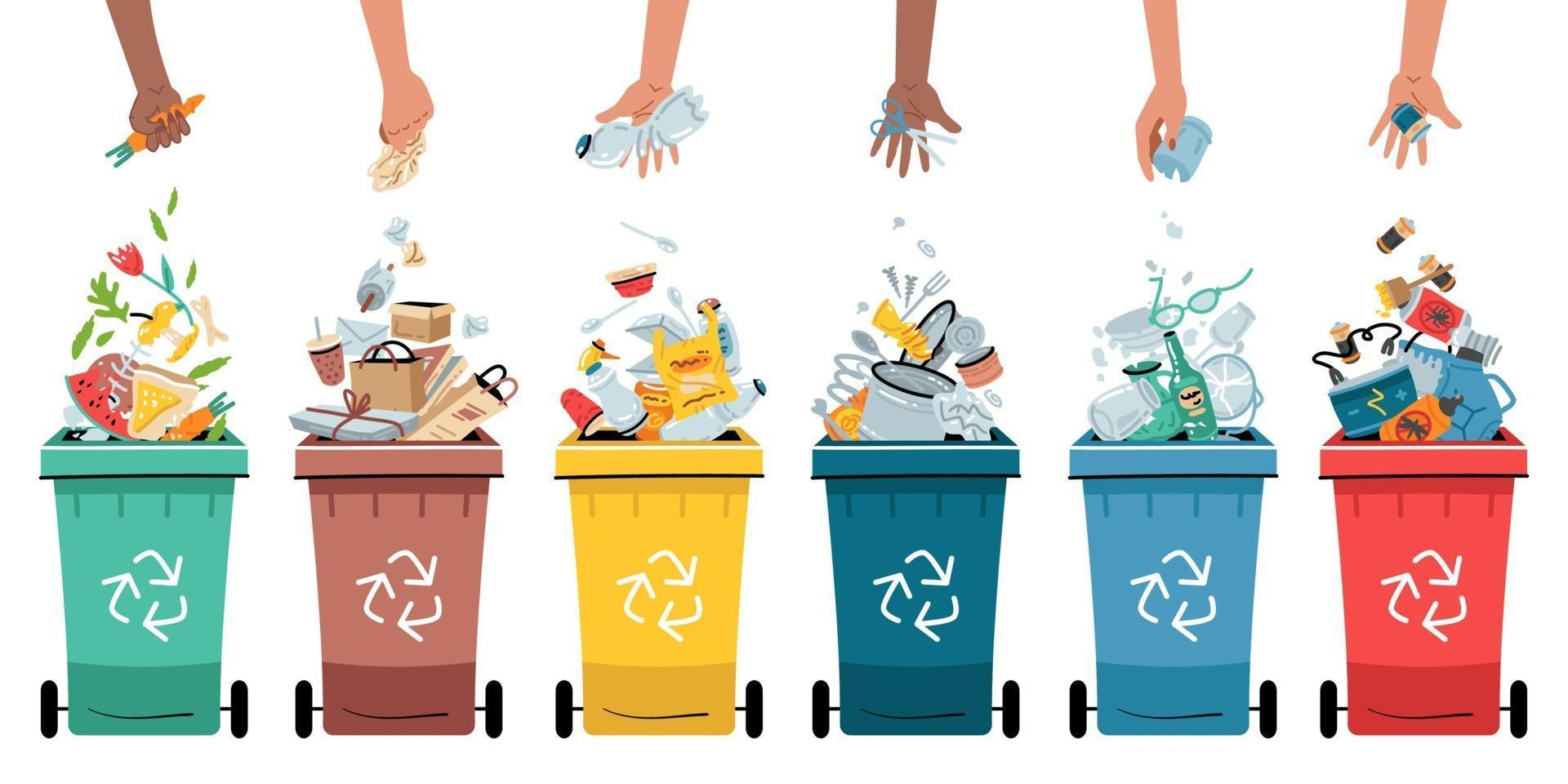 Waste collection, segregation and recycling illustration. vector