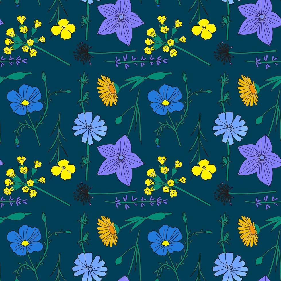 patrón sin fisuras con flores silvestres en flor en estilo dibujado a mano vector