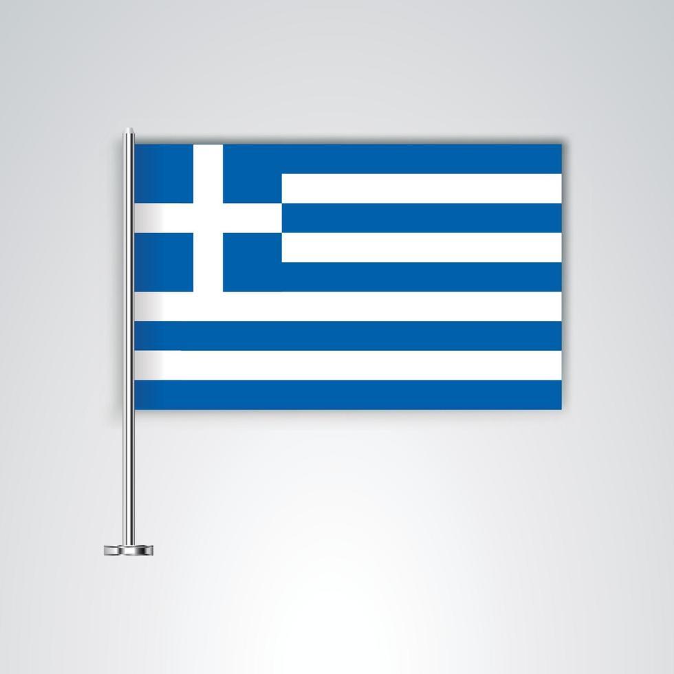 bandera de grecia con palo de metal vector