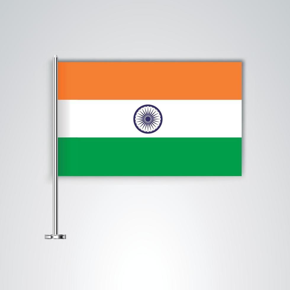 bandera de la india con palo de metal vector