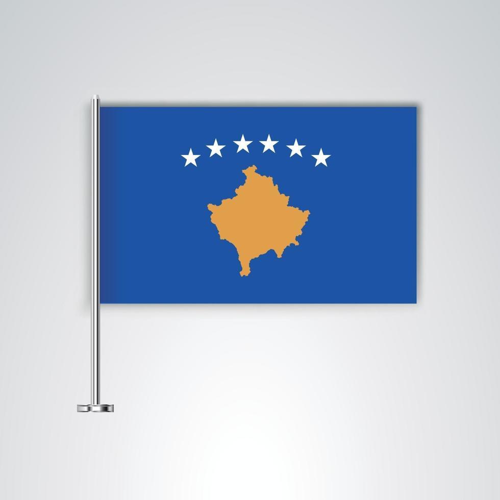 bandera de kosovo con palo de metal vector